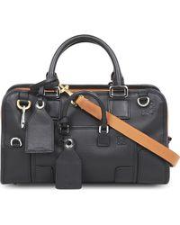 Loewe Amazona 28 Multiplication Leather Satchel Bag - Black