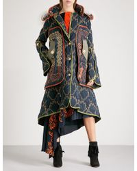Peter Pilotto -patterned Hooded Quilted Coat - Blue