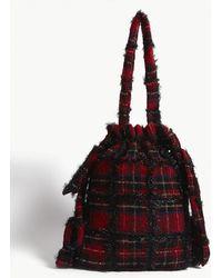 Simone Rocha Tartan Drawstring Shoulder Bag - Red