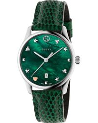 Gucci - Ya126584 G-timeless Mother-of-pearl And Lizard-leather Strap Quartz Watch - Lyst