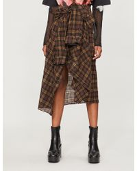 Faith Connexion - Checked Asymmetric Wool-blend Midi Skirt - Lyst