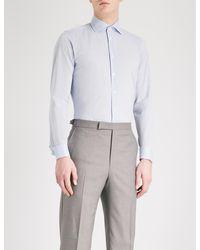 Richard James Patterned Contemporary-fit Cotton Shirt - Blue