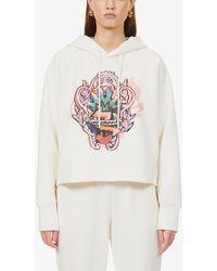 Zimmermann Love Graphic-print Cotton-blend Jersey Hoody - Natural