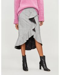 Alice + Olivia - Shantell High-waist Ruffled Check Woven Skirt - Lyst