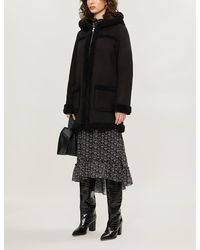 Sandro Shearling Coat - Black