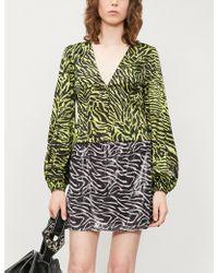 Ganni - V-neck Bishop-sleeve Tiger-print Stretch-silk Top - Lyst