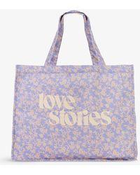 Love Stories Branded Floral-print Cotton Tote Bag - Purple