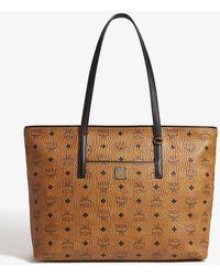 MCM Anya Visetos Coated Canvas Shopper - Brown