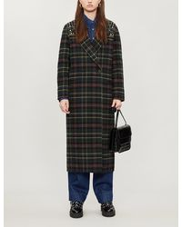 Sandro Checked Embellished Wool-blend Coat - Black