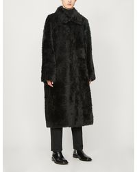 Balenciaga Single-breasted Oversized Faux-fur Coat - Black