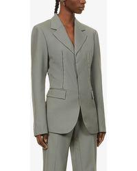 Dion Lee Single-breasted Wool Jacket - Grey