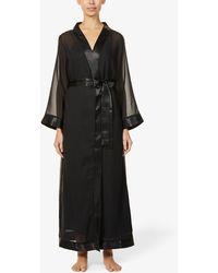 Bluebella Marcella Satin-trim Chiffon Kimono - Black