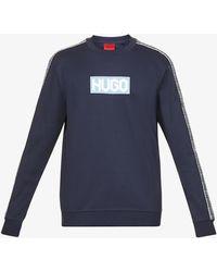 HUGO Logo-print Cotton-jersey Sweatshirt - Blue