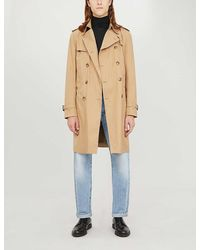 Sandro Magnetic Belted Double-breasted Cotton Coat - Natural