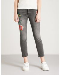 Claudie Pierlot - Bird And Floral-embroidered Skinny Mid-rise Jeans - Lyst