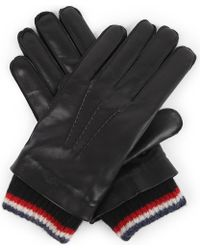 Thom Browne Stripe-trim Leather And Cashmere Gloves - Black