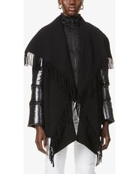 Moncler Padded-sleeve Wool And Shell-down Shawl - Black