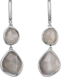 Monica Vinader - Siren Double Drop Nugget Sterling Silver And Blue Lace Agate Earrings - Lyst