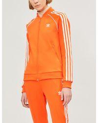 adidas Originals - Logo-embroidered Side-stripe Stretch-jersey Jacket - Lyst