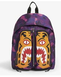 A Bathing Ape Tiger Camo Canvas Backpack - Purple