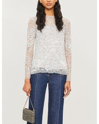 Needle & Thread Aurora Floral-embroidery Tulle Top - Blue