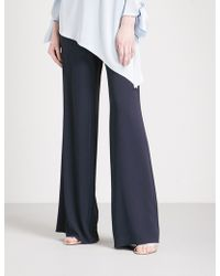 St. John - Wide Mid-rise Crepe Trousers - Lyst