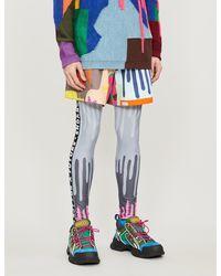 Walter Van Beirendonck Graphic-print Cotton-jersey Shorts - Blue
