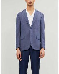 Corneliani Single-breasted Slim-fit Notch-lapels Wool Blazer - Blue
