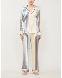 Chinti & Parker Striped Silk-satin Pyjama Set - White