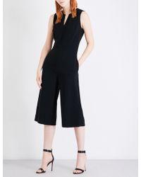 St. John - Ladies Cropped Concealed Zip Wide-leg Cady Jumpsuit - Lyst