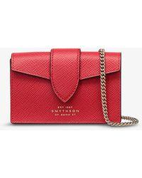 Smythson Panama Concertina Leather Card Holder - Red