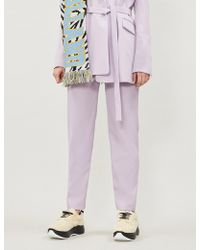 House of Holland Tapered Crepe Trousers - Purple