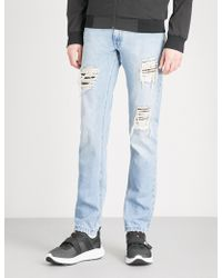 Fendi - Distressed Slim-fit Tapered Jeans - Lyst