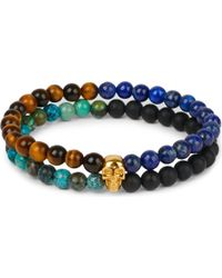 Nialaya - 18ct Gold-plated Sterling Silver Skull And Stone Bracelet - Lyst