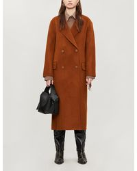 Sandro Fringed Double-breasted Coat - Brown