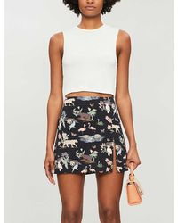 Reformation Margot Wildlife-print Crepe Mini Skirt - White