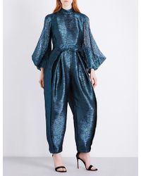 Delpozo - Metallic Relaxed-fit Silk-blend Jumpsuit - Lyst