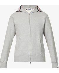 A Bathing Ape Shark-print Zip-up Cotton-jersey Hoody - Grey