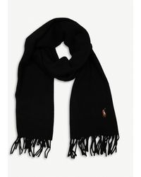 Polo Ralph Lauren Logo-embroidered Wool Scarf - Black