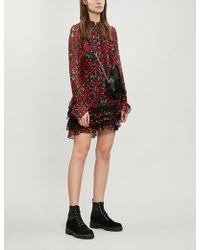 The Kooples Lace Ruffle Trim Floral Silk-blend Dress - Multicolour
