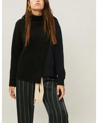 Sacai - Contrast-panel Knitted Jumper - Lyst