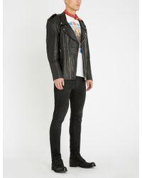 DEADWOOD Izzy Star Epaulette Leather Jacket - Black