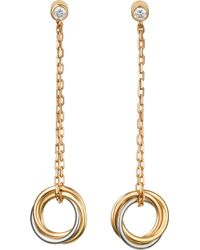 Cartier - Sweet Trinity 18ct Gold And Diamond Earrings - Lyst