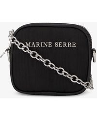 Marine Serre Logo-embellished Woven Clutch Bag - Black