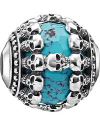 Thomas Sabo - Skulls Turquoise Sterling Silver Karma Bead - Lyst