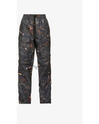 Reese Cooper Graphic-pattern Tapered Shell Pants - Gray