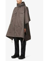 Stone Island Ghost Hooded Cotton Poncho - Grey