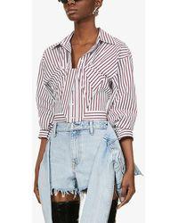 Alexander Wang Bustier Striped Cotton Shirt - White