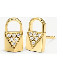 Michael Kors - Mercer Link Yellow Gold-plated Padlock Earrings - Lyst