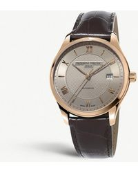 Frederique Constant - Fc-303mlg5b4 Classic Index Automatic Rose Gold-plated Stainless Steel And Leather Watch - Lyst